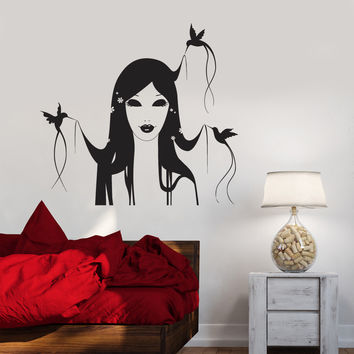 Vinyl Decal Girl Hairstyle Bird Beauty Salon Decor Hair Stylist Barber Wall Sticker Mural (ig2775)