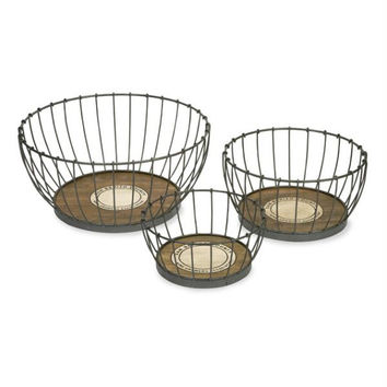 """3 Recycled Baskets -  """" San Benito County Wine Growers Association """""""