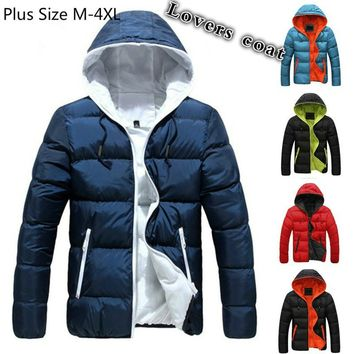 Plus Size M-4XL Men's Winter Puffy Down Jacket Thicken Outwear Coat with Hood