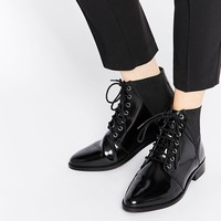 ASOS APPLE OF MY EYE Leather Pointed Ankle Boots at asos.com