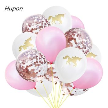 15pcs Gold Confetti Balloon Wedding Birthday Balloons Happy Birthday Party Decoration Kids Baby Shower Favors Unicorn Supplies