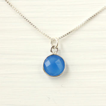 Blue chalcedony necklace, sterling silver, genuine blue gemstone, something blue, unique gift for friend