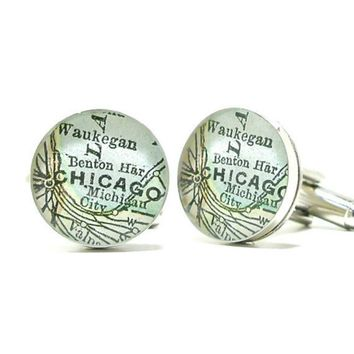 Chicago Illinois Antique Map Cufflinks