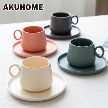 Simple Matte Set 4 Color Available Ceramic Coffee Stoneware Milk Cup Porcelain Dish