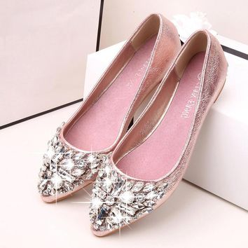2017 new fashion single shoes bling rhinestone wedding shoes flat gold silver women's flat heel casual shoes 2017