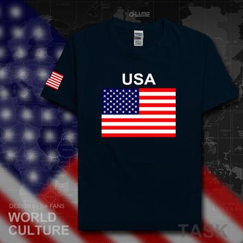 United States of America USA US t shirt man jerseys 2017 t-shirt 100% cotton nation team cotton meeting fans streetwear American