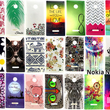Case For Nokia Lumia 435 Covers Fashion Cartoon Graffiti Animal Elephant Owl Flowers Soft TPU Back Cover Phone Case FreeShipping