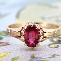 Victorian Engagement Ring   10k Rose Gold Ring   Antique Gemstone Ring   Dainty Birthstone Ring   Stacking Ring   Marsala Jewelry   Size 6