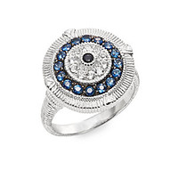 Judith Ripka - Lucky Blue, White & Black Sapphire Evil Eye Ring