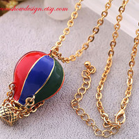 Colorful Hot Air Balloon NecklaceThe air dream by Cocoshowstyle