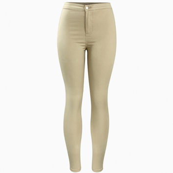 Hot Curvy High Waist Stretch Khaki Jean Pants