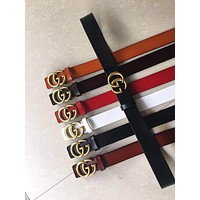 GUCCI Woman Men Fashion Smooth Buckle Belt Leather Belt  Width 3CM