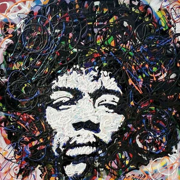 Jimi Hendrix Art Large Wall Art 36x36 Pop Art Painting Rock Art Music Art Large Canvas Painting Large Home Decor Wall Decor Gift Ideas