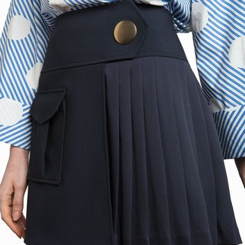 NAVY BUTTON PLEATED MINI SKIRT