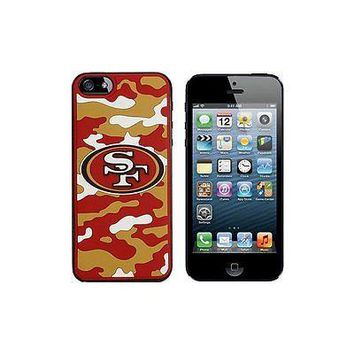 NFL San Francisco 49ers Camo Team Logo Apple iPhone 5 5s Hard Cover Snap On Case
