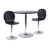 """Spectrum 3 Piece Dining Table Set, 29"""" Round & 2 Swivel Faux Leather Chairs"""