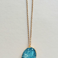 Azure Druzy Necklace - Made in NYC