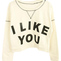 ROMWE | Letters Print White Sweatshirt, The Latest Street Fashion