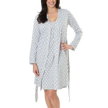 Baby Be Mine Maternity/Nursing Sleeveless Nightgown & Delivery Robe Set