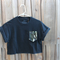 Hers Cut Off Camo PrintPaige's Pocket Tee (Black)