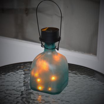 Aqua Teal Patron Glass Bottle Solar Powered Fairy Light Lantern