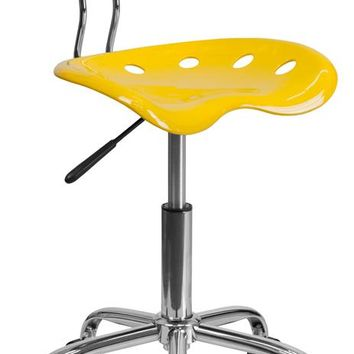 Vibrant Yellow and Chrome Swivel Task Office Chair with Tractor Seat [LF-214-YELLOW-GG]