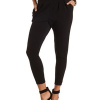 Textured High-Waisted Trousers by Charlotte Russe - Black
