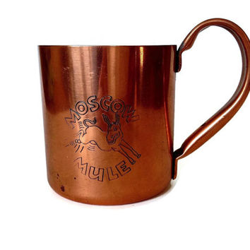 Solid Copper Moscow Mule Mug, Vintage Copper Cup