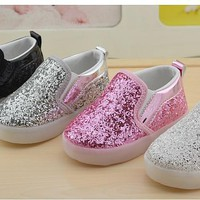 Toddler Girls And Boys LED Breathable Sequined Slip On Sneaker Shoes