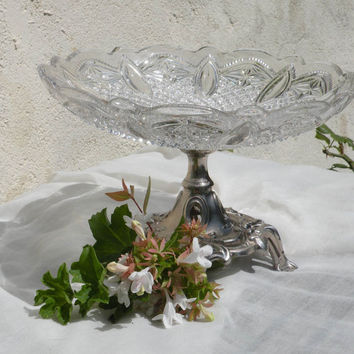 An attractive French vintage glass cake-stand, country home, French serving, glassware french, glass fruit bowl