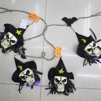 Halloween Decoration Hanging Bat Skull Halloween Props for Haunted House Bar KTV Yard Scary Decor FE05