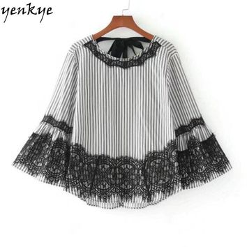 Vintage Women Lace Striped Blouse Shirt O Neck Flare Sleeve Back Bow Tie Blouse Casual Loose Tops