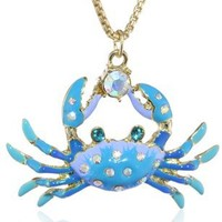 "Betsey Johnson ""Jewels of the Sea"" Crab Pendant Necklace, 21"""