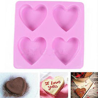 Heart Silicone Fondant Mold Cake Decorating Chocolate Baking Soap Ice Mould Tool