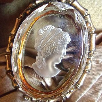 Thick Glass Cameo Brooch-Pendant Reverse Carved, Intaglio, Beveled, Brass Tone, Vintage