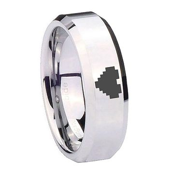 8MM Mirror Bevel Edges Zelda Heart Silver Tungsten Laser Engraved Ring