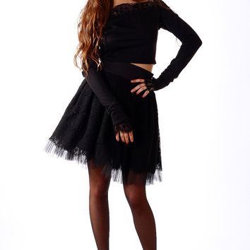 Black lace skirt / Mini skirt / Evening style / Luxury skirt / Cotton skirt