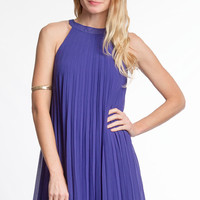 Pleated Chiffon Shift Dress