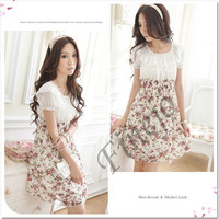 Korean Fashion summer Chiffon Dress Women's Stylish Tunic Short Sleeve Floral Mini Dresses  3690