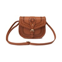 Womens Cutout Crossbody Saddlebag