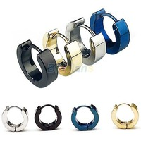 10 Pairs Cool Men's Stainless Steel Round Earring Ear Stud 4 Colors Available 0239 3SN3 7ENN 88E6