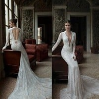 V-Neck Lace Backless Mermaid Bridal Long Sleeve Wedding Dress Gowns Bridal Train