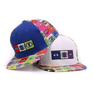 Cotton 6 panels snap back eyes embroidery and printed flat bill men baseball cap hip hop hat and cap for men and women
