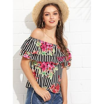 Multicolor Layered Flounce Off Shoulder Floral Print And Striped Top