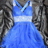 Prom Dresses Australia — Straps Tulle Satin Mini Royalblue Homecoming Dresses at Dressestylist.com