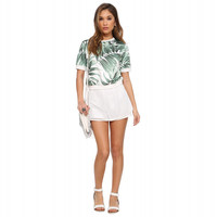 Banana Leaf Print Short Sleeve Top