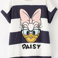Navy White Striped Donald Duck Print Short Sleeve T-Shirt