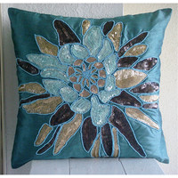 Centerpiece - Throw Pillow Covers - 16x16 Inches Silk Pillow Cover with Embroidery and Sequins