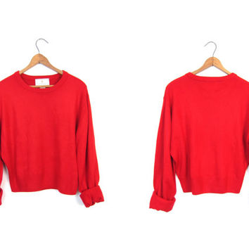 Red Cropped 90s Knit Sweater EXPRESS Thin Acrylic Sweater Modern Holiday Sweater Top Minimal Preppy Crop Knit Sweater Top Womens medium