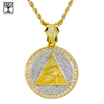 """Jewelry Kay style Fashion Iced Out Egyptian EYE Medallion 26"""" Heavy Rope Chain Necklace NA 6154 G"""